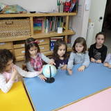 Τα παιδιά διακρίνουν στην υδρόγειο σφαίρα,το άσπρο χρώμα( χιόνι) που καλύπτει,την Αρκτική και την Ανταρκτική.